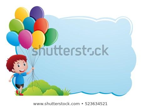 мальчика · шаров · Cartoon · иллюстрация · вечеринка - Сток-фото © bennerdesign