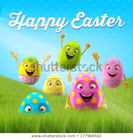 Happy Easter 3d spring holiday banner set Stock photo © cienpies
