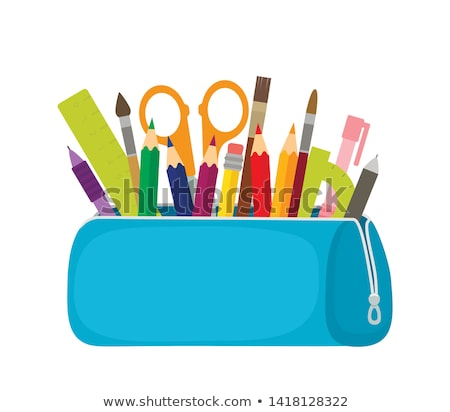 vector set of pencil and pencil case stock photo © olllikeballoon