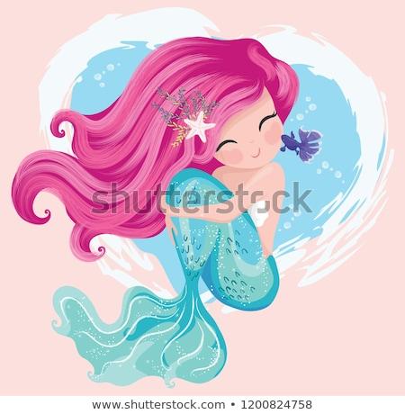 Photo stock: Vector Cartoon Cute Mermaid Fairy Sea