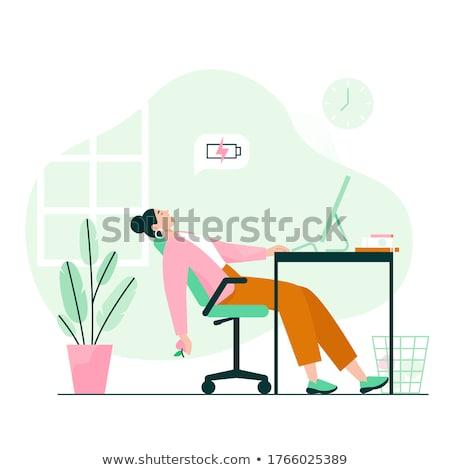 yorgun · işkadını · uyku · sandalye · ofis · iş - stok fotoğraf © 3dmask