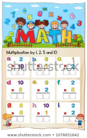 math · vermenigvuldiging · aantal · vier · illustratie · ontwerp - stockfoto © colematt