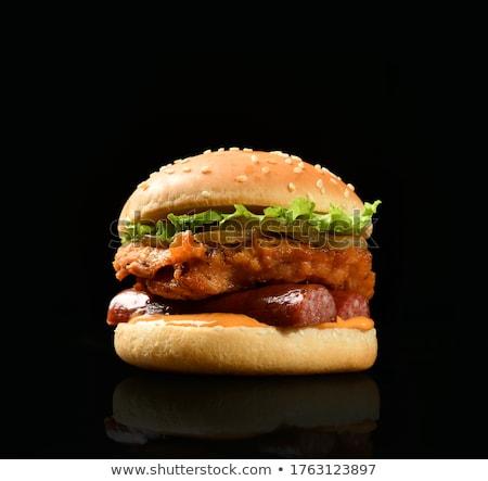 Házi készítésű friss sózott uborkák szendvicsek kolbász Stock fotó © Melnyk