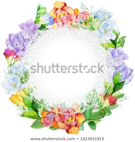 цветок · акварель · венок · красивой · дизайна · белый - Сток-фото © natalia_1947