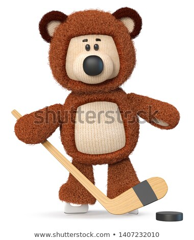 3d funny jugando hockey mullido Foto stock © karelin721