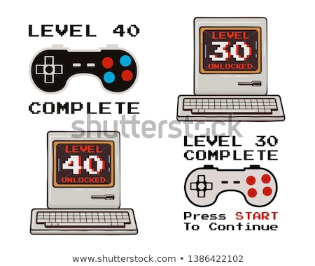Happy 40th and 30th birthday graphic tee design set for T-Shirts, posters, prints. Retro video gamer Stock photo © JeksonGraphics