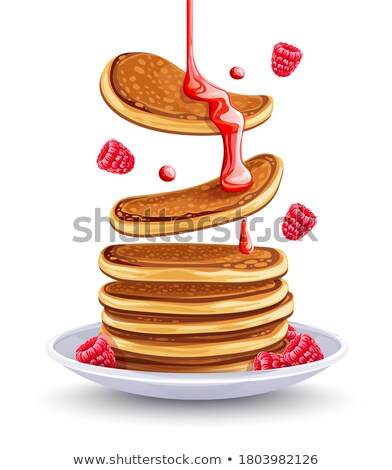 Pancakes with raspberries and maple syrup isolated cutout Stock photo © LoopAll