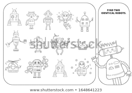 find two same robots coloring book Stock photo © izakowski