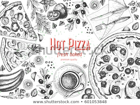 Delicious Freshness Slice Pizza Hand Drawn Vector Stock photo © pikepicture