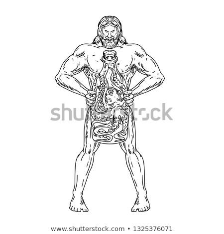 Hercules Hold Bottle Octopus Inside Drawing Black and White Stock photo © patrimonio