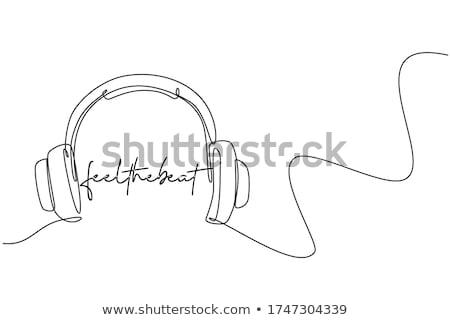 Stockfoto: Listening Audio Device Cable Headphones Vector