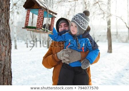 Boy feeding bird in birdhouse Stock photo © jossdiim