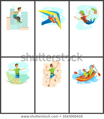 Climbing and Bungee Jumping Rafting Poster Set Stock photo © robuart