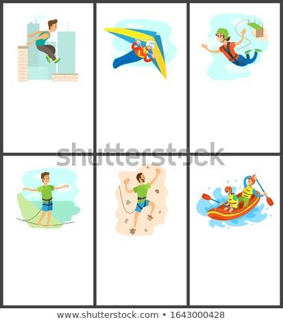 Escalada saltar rafting anunciante establecer vector Foto stock © robuart