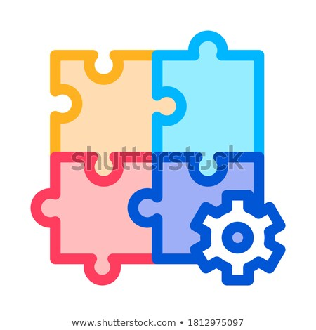 Puzzle Game And Gear Agile Element Vector Icon Stock photo © pikepicture