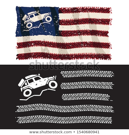 American Over Lander 4x4 Off Road Adventure Patriotic Tire Tread Flag Isolated Vector Illustration  Stock photo © jeff_hobrath