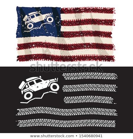 американский 4x4 дороги Adventure патриотический Сток-фото © jeff_hobrath