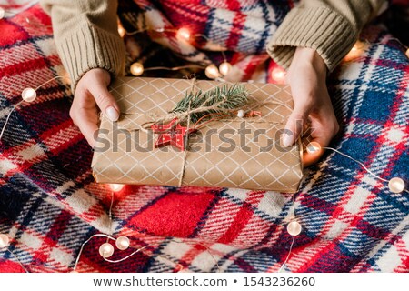 Hands of young woman holding wrapped giftbox with red star and conifer on top Stock photo © pressmaster