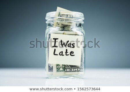Dollár bankjegyek bögre késő szöveg tapadó Stock fotó © AndreyPopov
