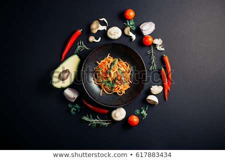 Delicous pasta with beef and fresh avocado Stock photo © Peteer