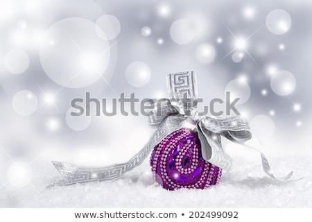Karácsony lila labda fesztivál kártya terv Stock fotó © SArts