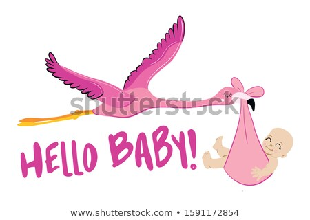 Hello baby - Baby Shower illustration with flamingo stork. Typography illustration for new born. Stock photo © Zsuskaa