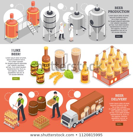 Vector isometric beer brewing process Stock photo © tele52