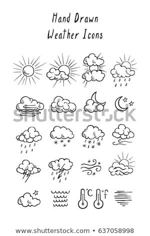 Donner Hand gezeichnet Kontur Illustration Blitz logo Stock foto © barsrsind