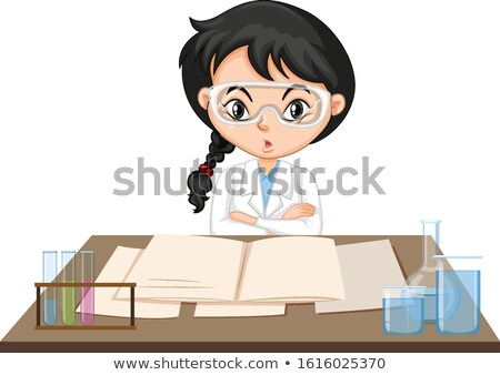 Girl in science gown working at the table Stock photo © bluering