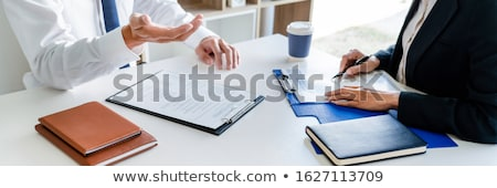 Interview job concept, attractive candidate job seeker in suit a Stock photo © snowing