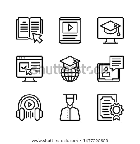 Online Podcast On Laptop Icon Outline Illustration Stock photo © pikepicture