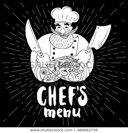 Kok chef baard retro retro-stijl Stockfoto © patrimonio