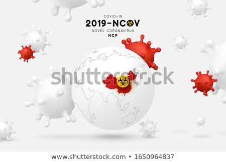 Covid-19. Coronavirus Outbreak Design with Virus Cell in on 3d Red World Map Background. 2019-ncov.  Stock photo © articular