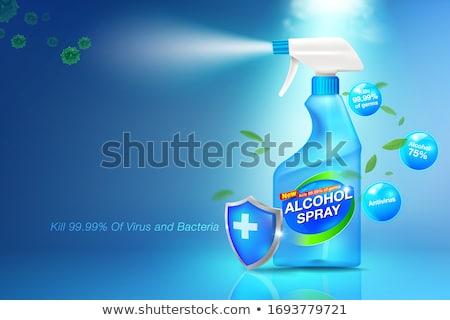 Vírus spray trabalhando tabela laptop higiene pessoal Foto stock © olira
