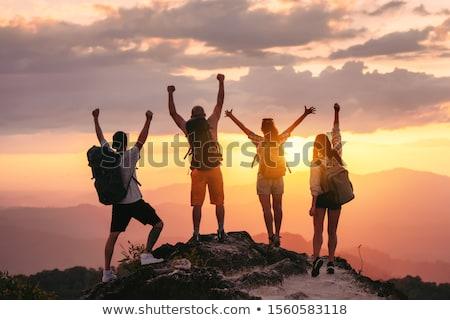 Jóvenes explorador puesta de sol cielo hombre viaje Foto stock © olira