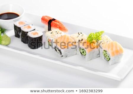 Szusi maki tányér friss hal fekete Stock fotó © boggy
