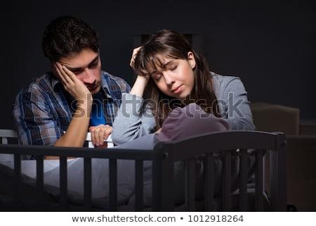 Genç ebeveyn uykusuz bebek gece Stok fotoğraf © Elnur