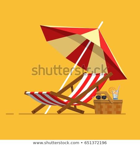 пляж стульев черный морем Сток-фото © ctacik