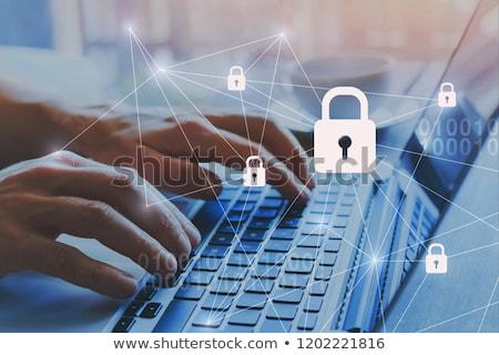 безопасность данных блокировка цепь данные диск Сток-фото © AlphaBaby