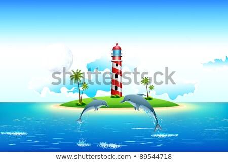 plaj · deniz · feneri · görmek · vektör · sanat · örnek - stok fotoğraf © vectomart