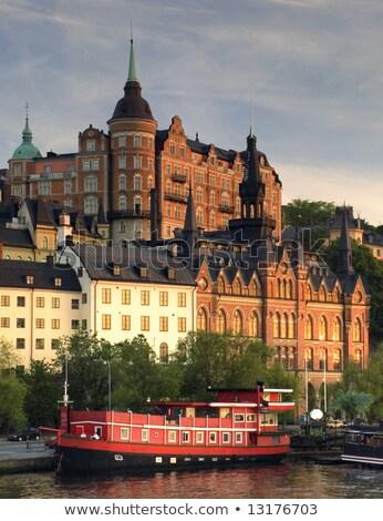 Skyline · Стокгольм · Швеция · ночь · старый · город · закат - Сток-фото © photocreo