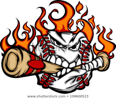 Stock foto: Baseball Flaming Face Biting Bat Vector Image