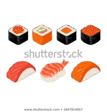 szusi · uborka · izolált · fehér · étel · zöld - stock fotó © elmiko