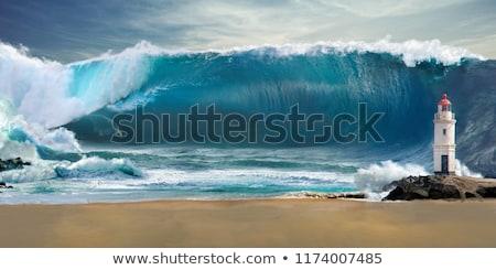 Tsunami tropikal plaj doğa kum dalga tropikal Stok fotoğraf © ajlber
