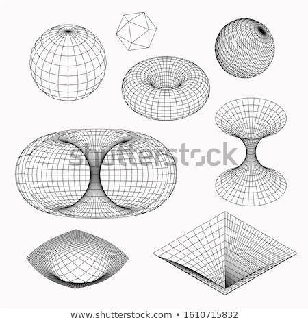 Wireframe símbolos geometria matemática perspectiva globo Foto stock © fixer00