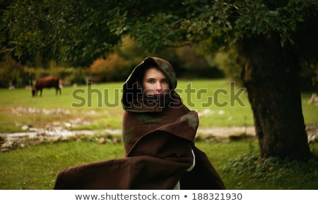 Retro photo of young woman in medieval clothes Stock photo © gromovataya