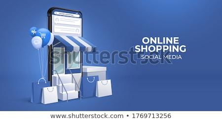 Internetes vásárlás belépés gomb bevásárlókocsi számítógép billentyűzet Stock fotó © idesign