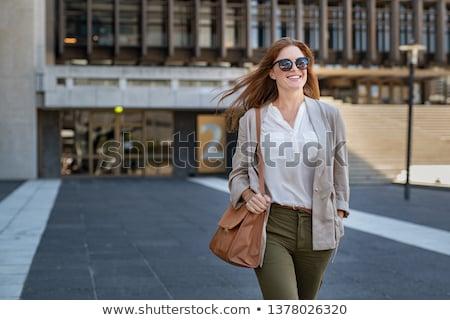 sorrindo · óculos · de · sol · cabelo · sorridente · belo · mulher · loira - foto stock © stryjek