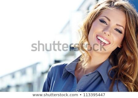 közelkép · kék · nő · szemkontaktus · lencse · jelentkezik - stock fotó © victoria_andreas
