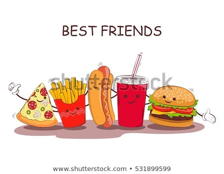 Grappig fast food banner vector cartoon communie Stockfoto © pcanzo